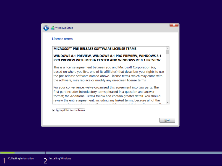 Accept Win 8.1 License Term
