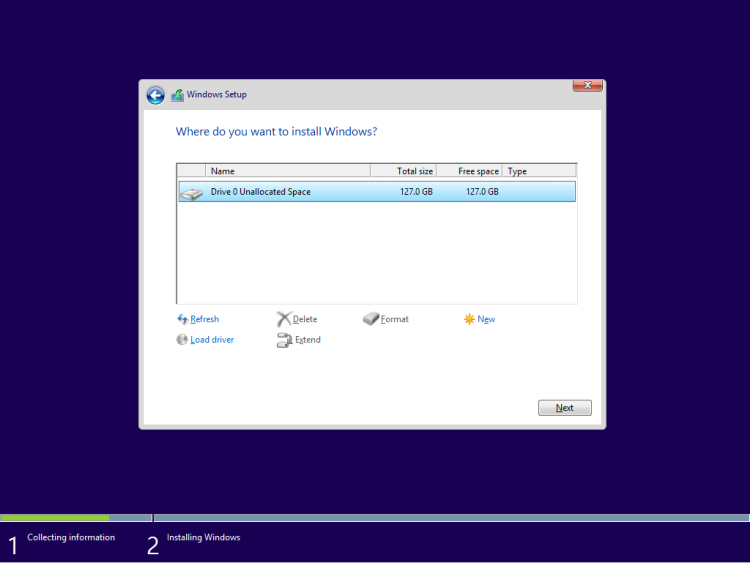 Select a disk where to install Windows