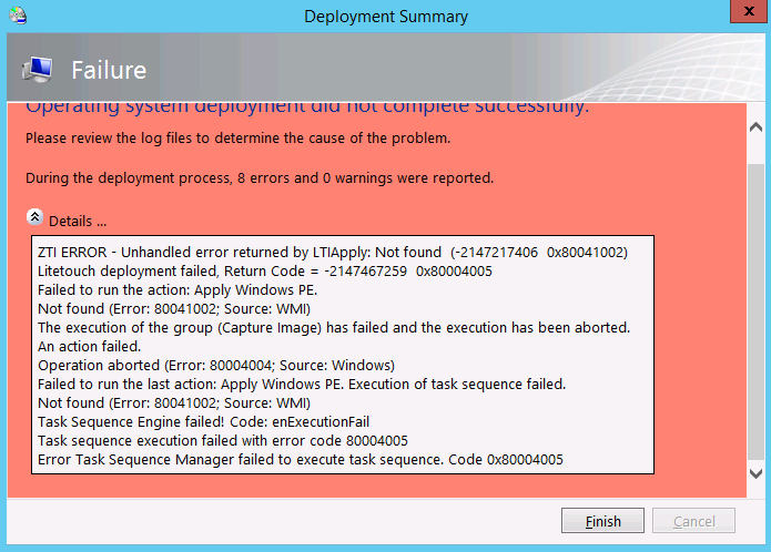 MDT 2013 LAB: Sysprep and Capture task sequence fails