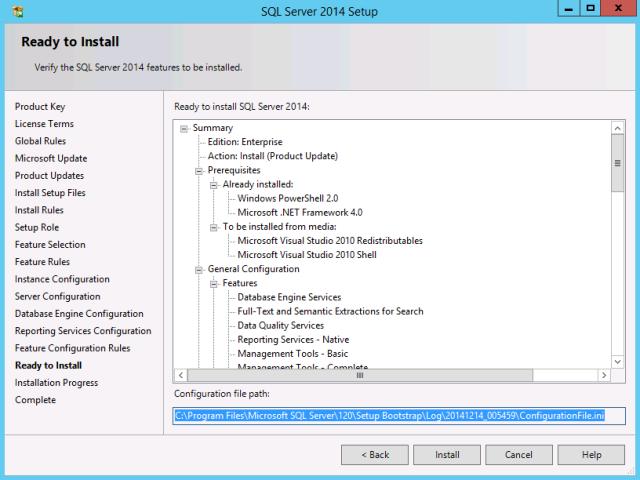 SQL Server 2014 – Creating ConfigurationFile ini | JDeployment