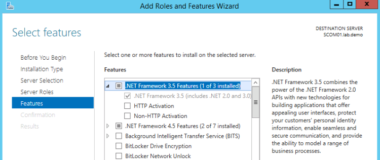 .Net Framework 3.5 Feature is required