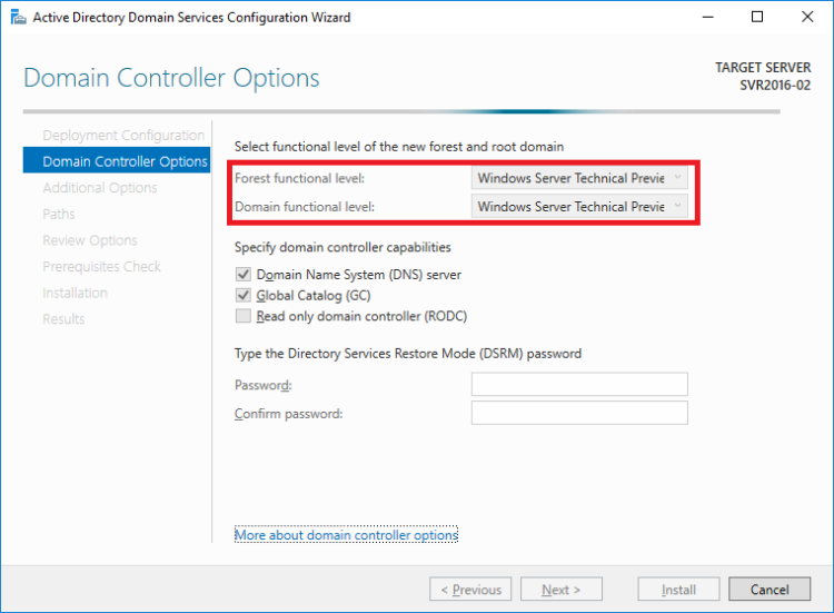 Windows Server 2016 Active Directory Forest and Domain functional