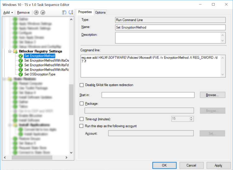 Windows 10 OSD: Enabling BitLocker XTS-AES 256 on Multiple