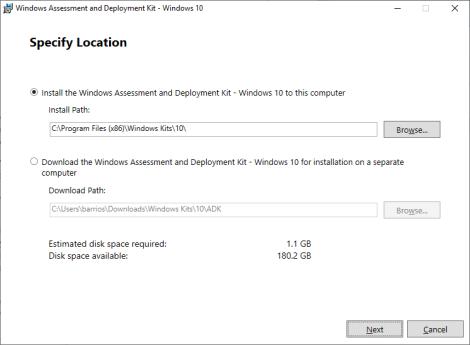 Installing Windows ADK for Windows 10 version 1903 + Windows PEadd-on